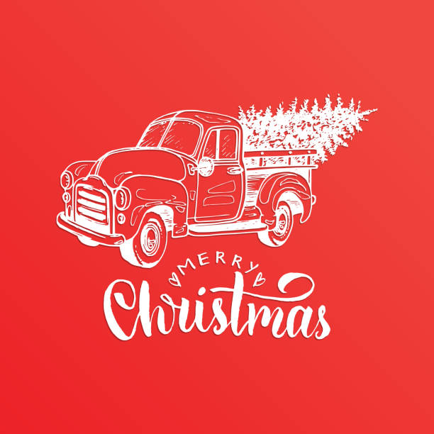 Merry Christmas Lettering Vector Hand Drawn Toy Pickup Illustration Happy Holidays Greeting Card