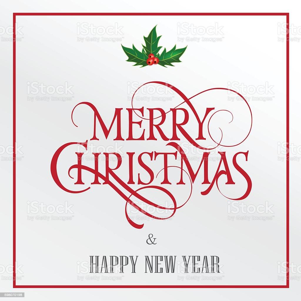 Ilustración de Merry Christmas Lettering With Mistletoe y más banco ...