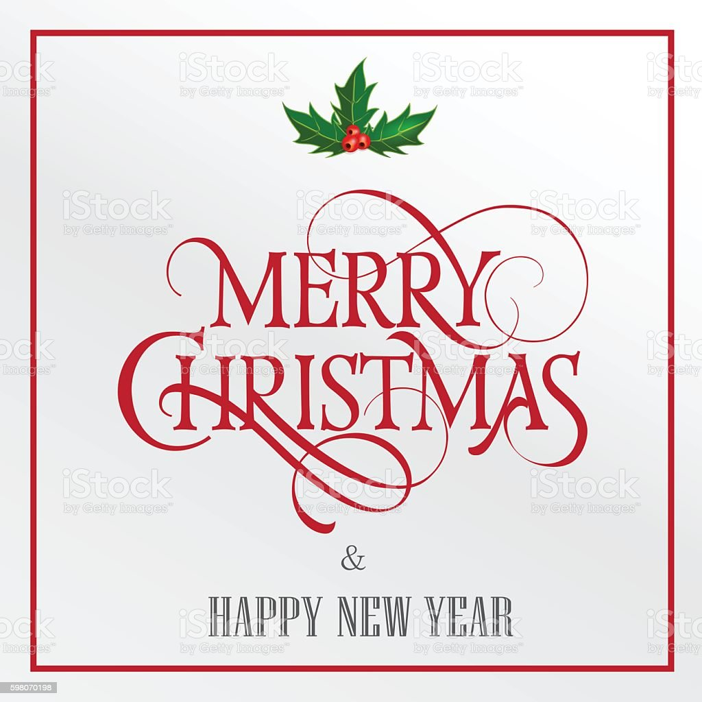 Merry Christmas Lettering with Mistletoe vector art illustration