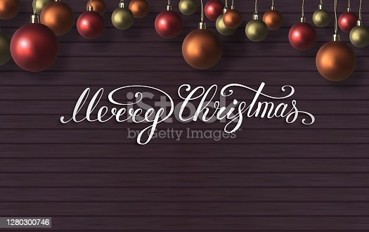 istock Merry Christmas lettering with red,orange,gold christmas balls on wooden wall. New Year composition . Vector illustration 1280300746