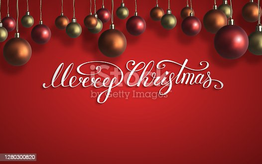 istock Merry Christmas lettering with red,orange,gold christmas balls on wooden wall. New Year composition . Vector illustration 1280300820