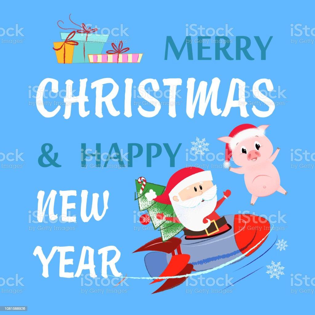Frohe Weihnachten Flugzeug.Frohe Weihnachtenschriftzug Mit Santa Claus Fliegende