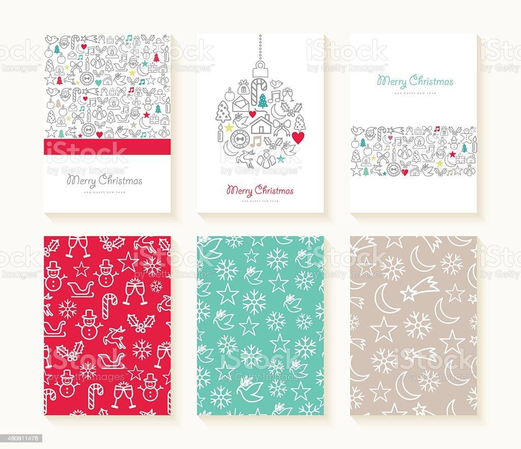 メリークリスマス線アイコンのパターンの背景カード ベクターアートイラスト