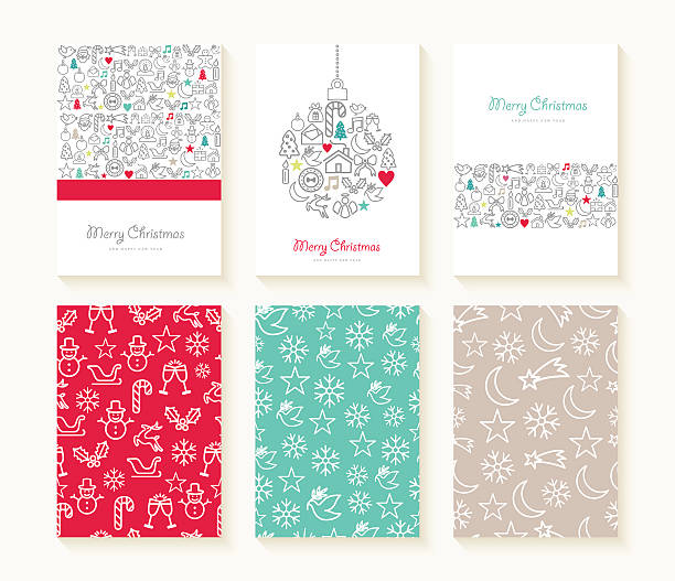 merry christmas line icon patterns background card - winter fashion stock illustrations, clip art, cartoons, & icons