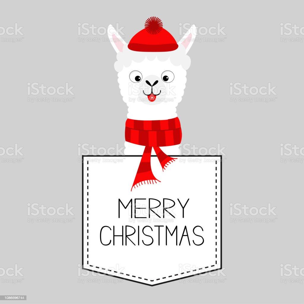 Christmas Llama.Merry Christmas Llama Alpaca Animal Dash Line Kawaii Character White And Black Color Tshirt Design Baby Gray Background Flat Design Stock Illustration
