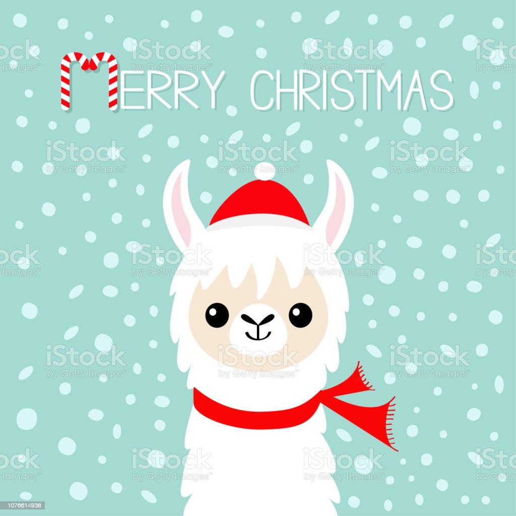 Joyeux Noël Visage De Bébé Alpaga Lama Père Noël Rouge Chapeau