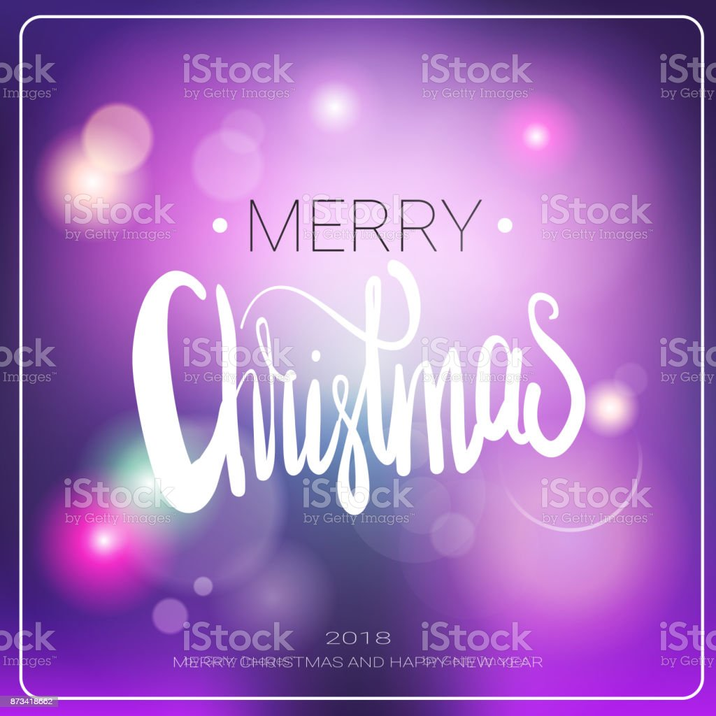 Merry Christmas Message Over Blurred Background Winter Holidays