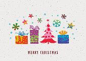 istock Merry Christmas minimalist hand-painted greeting card 1289682198