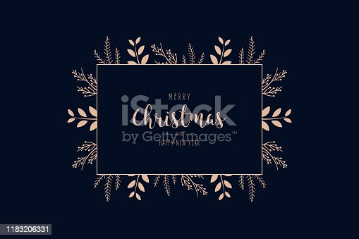 istock Merry Christmas modern elegant card with frame banner greetings and rose gold fir pine branches on blue background 1183206331