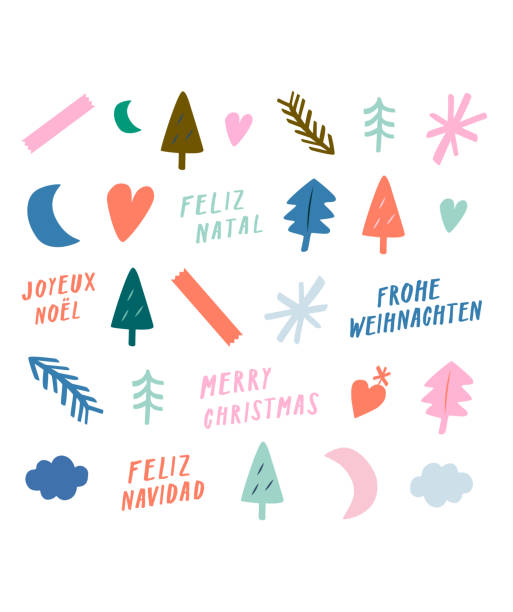 Merry Christmas! Modern x-mas sticker sheet. Cute trendy vector. Arty add-ons for social media, retail, logos, emblems. Quirky multicolored icons in pastel tones. Unique holiday art with hand lettering, cute decoration Christmas trees, heart, snowflake From the contemporary doodle Christmas greetings series. australian christmas stock illustrations