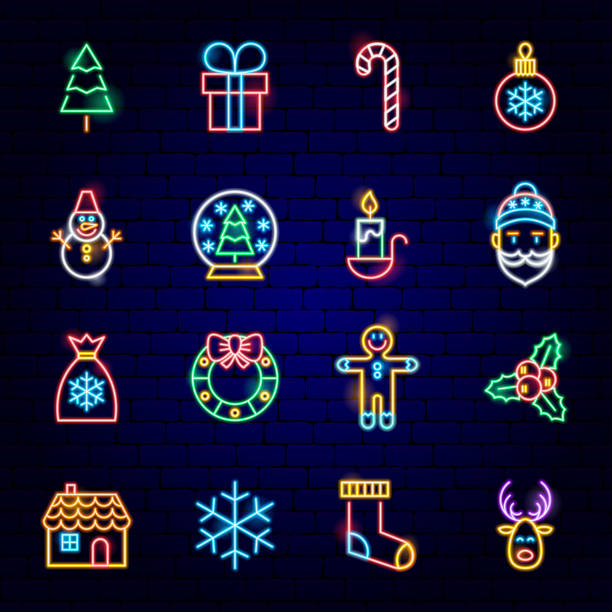 merry christmas neon icons - light through trees stock illustrations