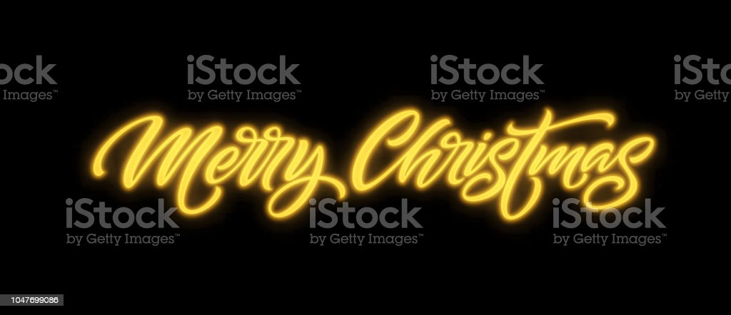 Schriftzug Frohe Weihnachten Beleuchtet.Frohe Weihnachten Neon Schriftzug Stock Vektor Art Und Mehr