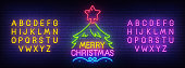 Merry Christmas neon sign, bright signboard, light banner. Christmas and Happy New Year logo. Neon sign creator. Neon text edit. Vector illustration.