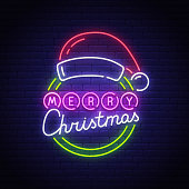 Merry Christmas neon text, bright signboard, light banner. Santa hat neon logo, emblem. Merry Christmas sign. Vector illustration.