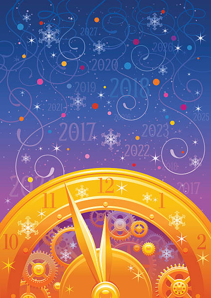 Merry Christmas, New year 2017 flyer. Greeting card clock design vector art illustration