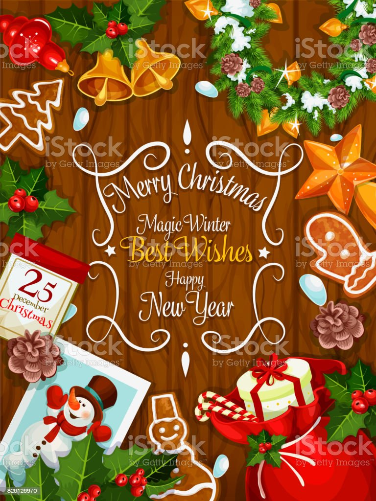 Merry Christmas New Year Best Wishes Vector Poster Stock Vector Art