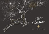 Merry christmas happy new year jumping deer design in art deco outline style. Ideal for xmas greeting card or holiday poster. EPS10 vector.