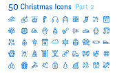 Merry Christmas, new year flat line icons. Gifts, winter sports, presents,skiing, hockey, snowboard, snowball game, snow removal vector illustrations. Thin signs pixel perfect 48x48. Editable Stroke