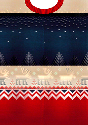 Merry Christmas New Year greeting card frame scandinavian ornaments deers