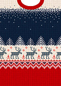 Ugly sweater Merry Christmas and Happy New Year greeting card frame border template. Vector illustration seamless knitted background pattern deers scandinavian ornaments. White, red, blue colors.Ugly sweater Merry Christmas and Happy New Year greeting card frame border template. Vector illustration seamless knitted background pattern deers scandinavian ornaments. White, red, blue colors.