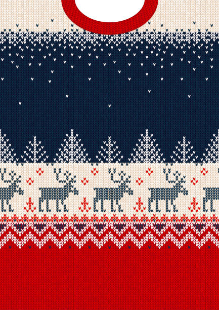Merry Christmas New Year greeting card frame scandinavian ornaments deers Ugly sweater Merry Christmas and Happy New Year greeting card frame border template. Vector illustration seamless knitted background pattern deers scandinavian ornaments. White, red, blue colors.Ugly sweater Merry Christmas and Happy New Year greeting card frame border template. Vector illustration seamless knitted background pattern deers scandinavian ornaments. White, red, blue colors. norway stock illustrations