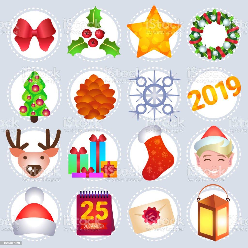 Ilustración De Feliz Iconos De Decoración Navidad Año Nuevo
