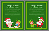Merry Christmas and Happy New Year posters Santa and Elf reading wish list on paper scroll