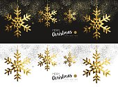 Merry Christmas Happy New Year social media cover banner set with gold low poly origami snowflake shapes on stars and firework background. EPS10 vector.   .
