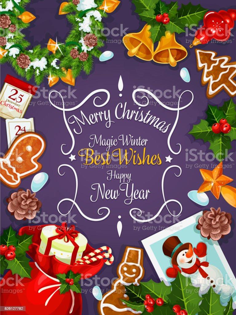 Wünsche Frohe Weihnachten.Frohe Weihnachten Neujahr Wünsche Karte Plakat Stock Vektor Art Und