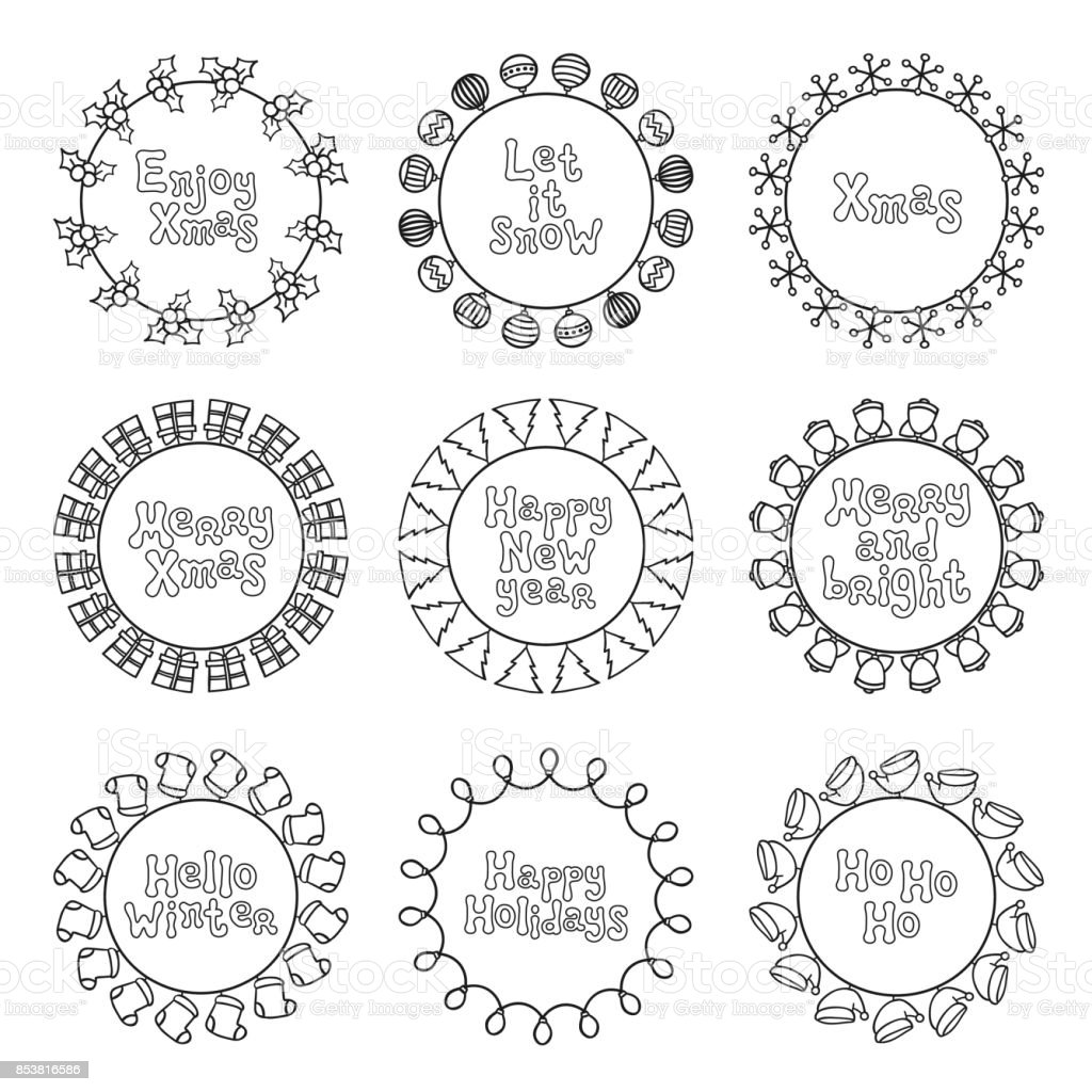 merry christmas new year wishes labels stickers and badges hand drawn framework frame calligraphy