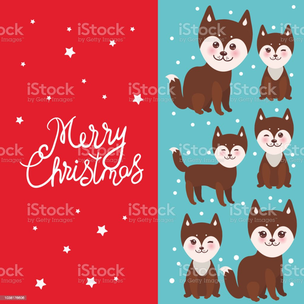 Merry Christmas New Years Card Design Funny Brown Husky Dog Kawaii ...