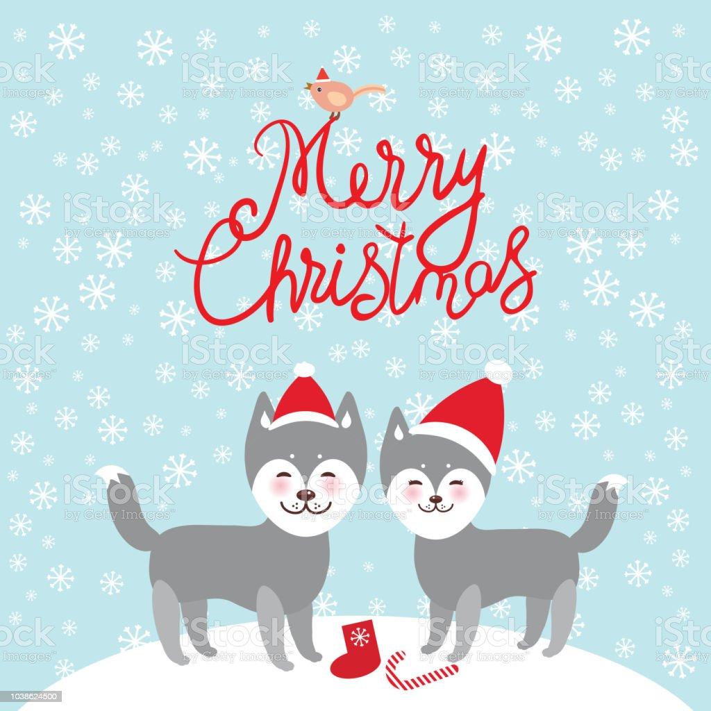 Joyeux Noel Nouvel An Carte Dessin Drole Gris Chien Husky Au Chapeau