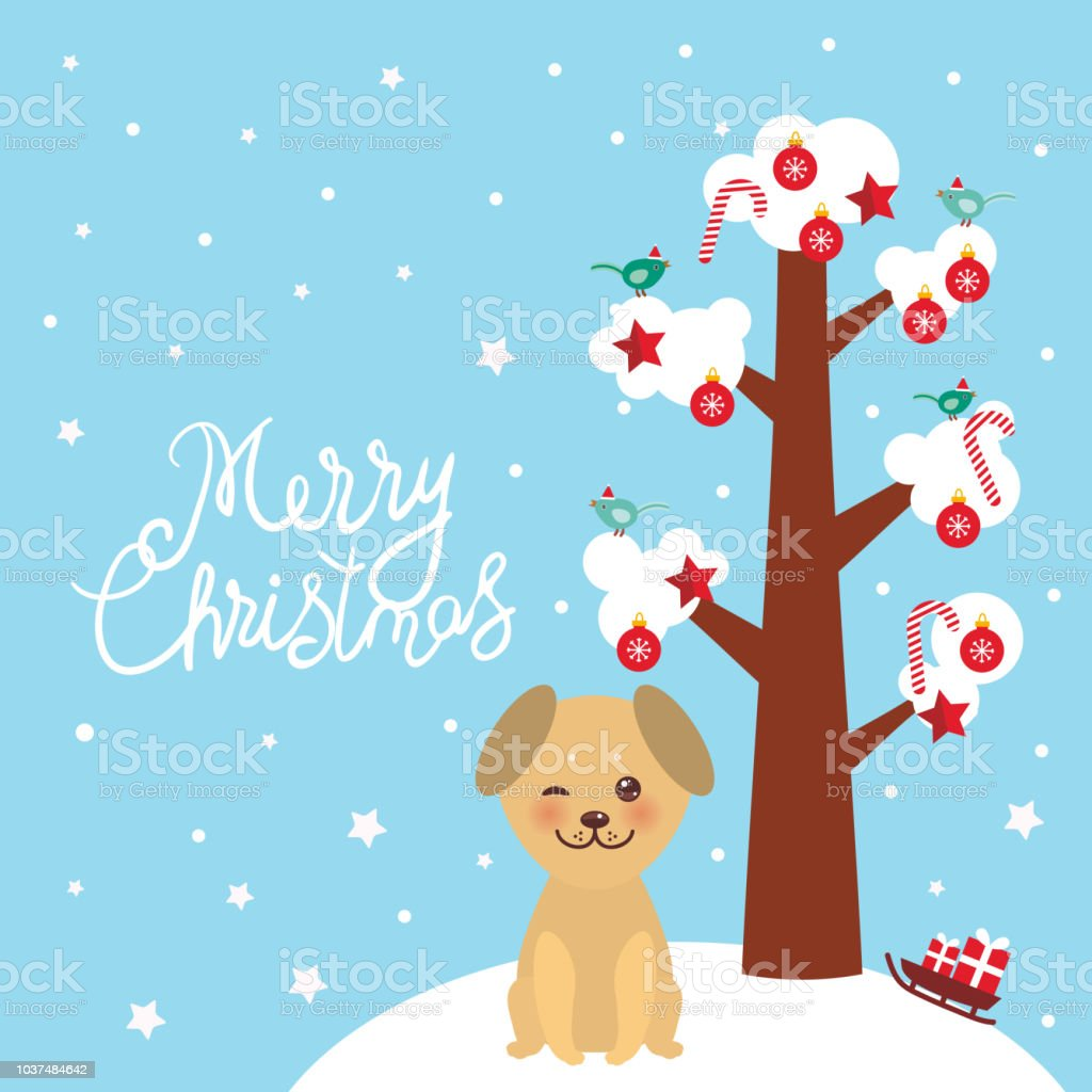 Merry Christmas New Years Card Design Kawaii Golden Beige Dog Tree ...