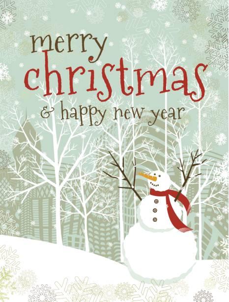 Merry Christmas new year´s snowman text vector art illustration