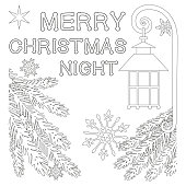 Merry Christmas night poster with lonely star, street lantern, snowflake and christmas tree branches. Coloring book page for adults and kids. Vector illustration for xmas gift card certificate banner
