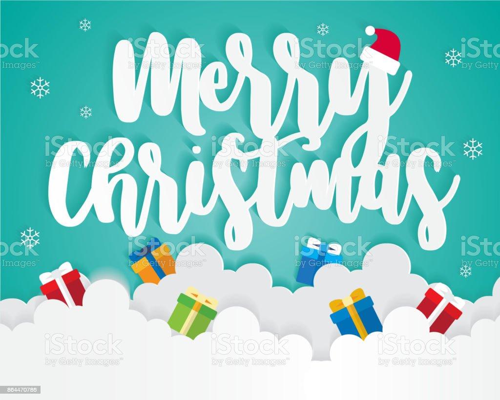 Frohe Weihnachten Auf Sky Mit Geschenkbox Grußkarte Hintergrund ...