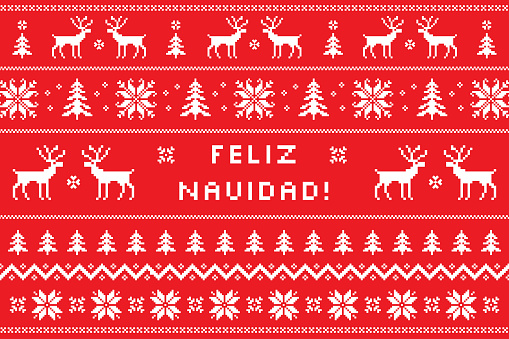 Merry Christmas on spanish - Feliz Navidad greeting card with classical winter sweater design. Nordic knitted pattern with deers, snowflakes and borders. Vector illustration