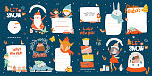Merry Christmas or Happy New 2020 Year illustration with holiday lettering and traditional winter elements. Cute paper label, banner, tags or stickers template in scandinavian style. Vector background