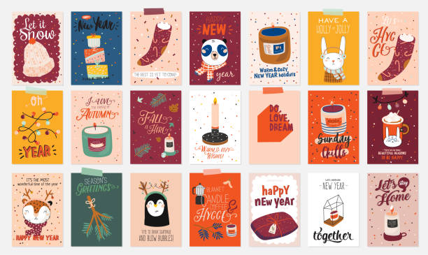 ilustrações de stock, clip art, desenhos animados e ícones de merry christmas or happy new 2020 year illustration with holiday lettering and traditional winter elements. - hygge