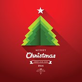 Merry Christmas origami paper green tree overlap concepts design greeting card on red background, vector illustration