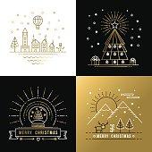 Merry christmas outline gold set label city xmas