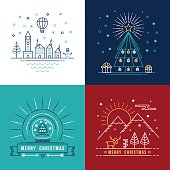 Merry christmas outline label set with winter city, xmas tree, snow globe, and reindeer elements. Ideal for holiday invitation or greeting card. EPS10 vector.