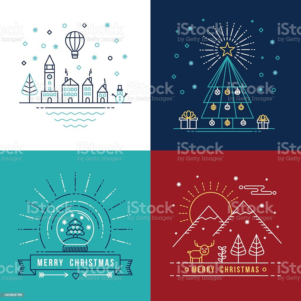 Merry christmas outline label set holiday element vector art illustration