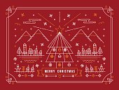 Merry christmas card in outline linear style. Mountain city design with xmas tree, snow, and holiday winter elements. EPS10 vector.
