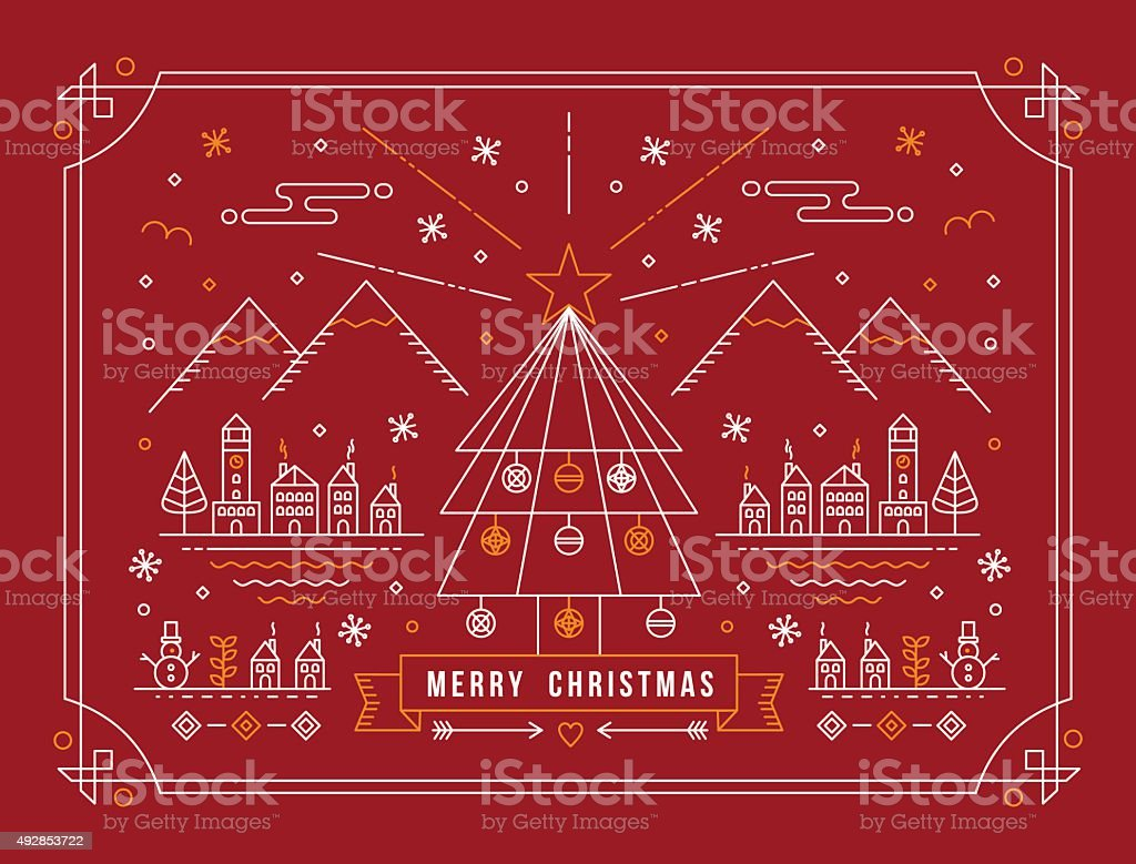 Merry christmas outline tree city winter poster vector art illustration
