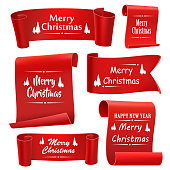 Merry Christmas paper banners, Set of five red, realistic tape . Vector illustration.