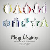 Merry Christmas papercut set, Realistic origami set