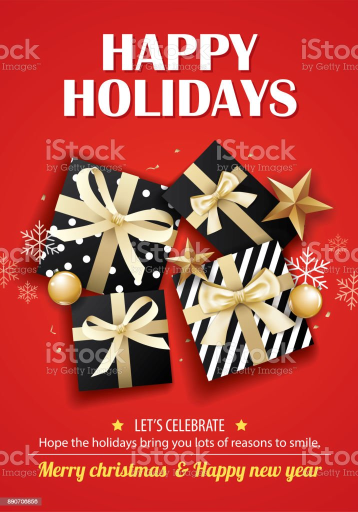 Merry Christmas Party And Gift Box For Flyer Brochure Design