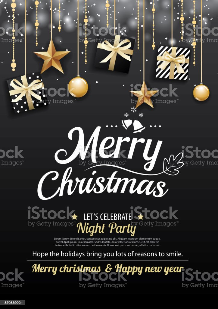 Merry christmas party and gift box on dark background invitation theme concept. Happy holiday greeting banner and card design template. vector art illustration