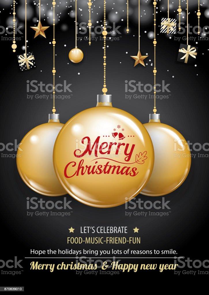 Frohe Weihnachtsfeier Und Goldball Auf Dunklem Hintergrund Einladung ...
